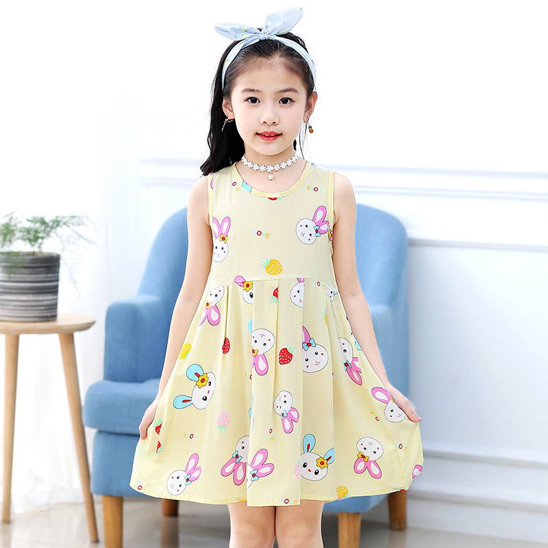 18 New Casual Dress Summer Style Sleeveless Cartoon printed pure cotton for Girls Dress 3-10 Years Children Clothing 2