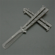 High Quality Practice BALISONG METAL BUTTERFLY Comb Steel Trainer Knife Tool(China)