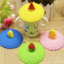 1pc Lovely Anti-dust Silicone Fruit Cup Cover Leakproof Coffee Lid Cap Airtight Sealed Cup Cover(China)