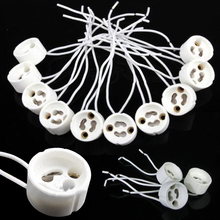 10pcs/lot GU10 Lamp Holder Socket Base Adapter Wire Connector Ceramic Socket for LED Halogen Light Bulb LED Strip mayitr