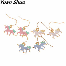 Fashion new white. Blue. Pink three color enamel ms unicorn earrings 2017 animal series earrings manufacturer wholesale(China)