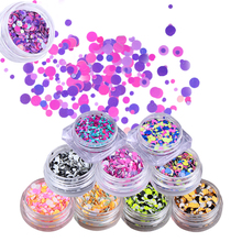 BORN PRETTY 1 Box Fluorescent Nail Paillette Colorful Round 1mm 2mm 3mm Sequins Manicure Flakies Nail Art Decoration(China)