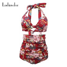 Buy High Waist Bikini Set Floral Sexy Swimsuit Women Bikini Push Swimwear Vintage Retro Halter Bikini Bandage Beach Bathing Suits
