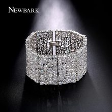 NEWBARK Wide Bracelets For Women Trendy Sparkling Full Rhinestone Statement Mujer Fashion Hand Accessories Bijoux For Wedding