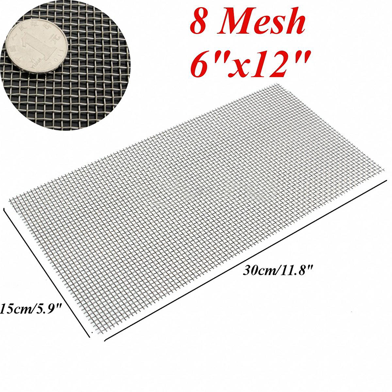 1pc 6x12'' Woven Wire Mesh Sheet Stainless Steel Cloth Screen Filter 5/8/20/30/40(China (Mainland))