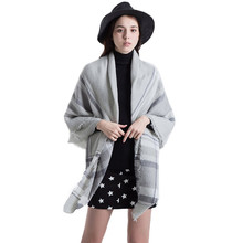 New arrival Women Grey Plaid Scarf Blanket Tartan Big Grid Scarves Warm Ladies Shawl Wraps Lattice Capes