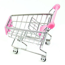 Metal Mini Pretend Play Supermarket Handcart Shopping Utility Cart Mode Storage car Desk brinquedos de menina miniaturas(China)