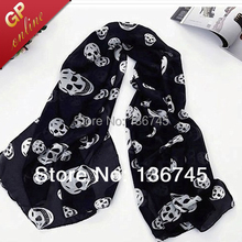 1001 Free Shipping!Chiffon Skull Scarf for Fashion Skull Women Scarves Plus Size and Silk Feeling