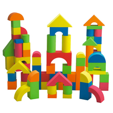 50pcs Colorful Soft EVA Safe Children Building Brick Block Foam Construction Soft Toy Zip Case Kids Intelligence Toys(China)