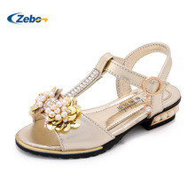 Gold pink girls party sandals T-shaped student princess shoes 2017 summer new diamond bow beads Bohemia high heels for kids