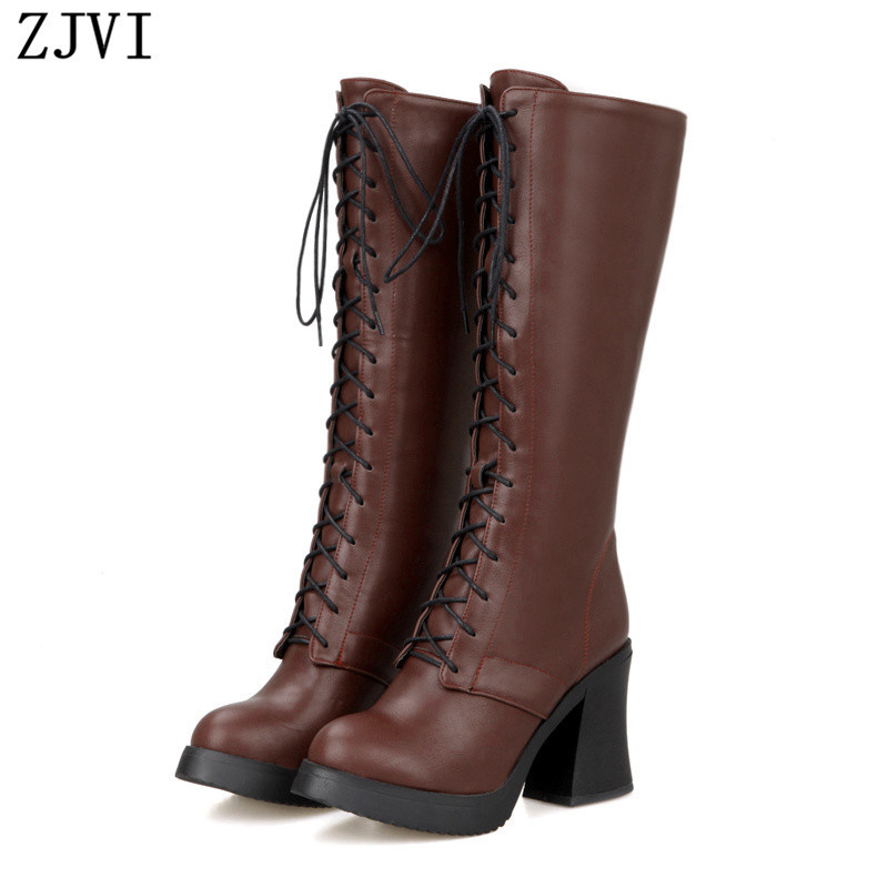 ZJVI womens knee high boots Ladies fashion autumn high heels woman thigh high motorcycle boots women female sexy cross shoes<br><br>Aliexpress