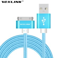 VOXLINK 1m 2m 3m 0.5m USB Cable Data Sync Charging cable 30pin Metal plug Nylon Braided USB cable For iPhone 4 4s iPad 1 2 3