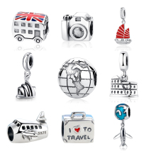 Authentic Sterling Silver 925 Original Charm Fit Pandora Bracelet Diy Travel Camera Eiffel Colosseum Tower Charms Beads Jewelry
