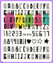 Nail Sticker KISSES SWEET HEART BOW TIE STARS ALPHABET Water Transfers Stickers Nail Decals Stickers YU816-827(China)