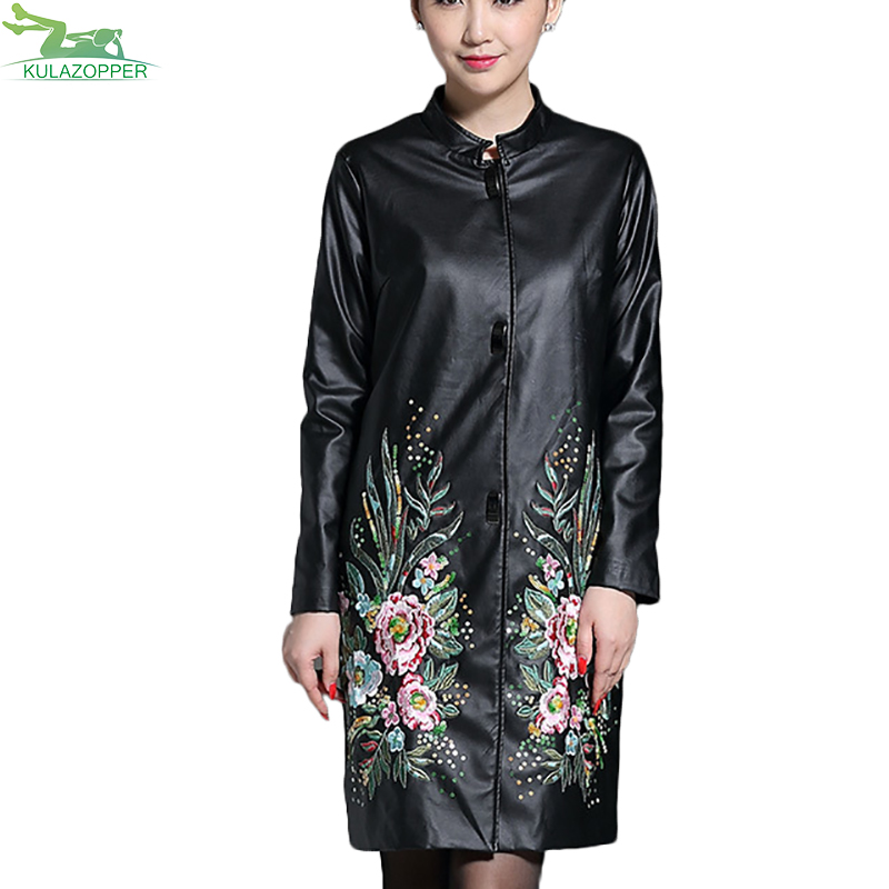 M-5XL Plus Size Women Embroidery leather Jacket Long Trench Autumn New PU Leather Outwear Slim Plus Size Leather Coat ER09