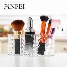 ANFEI New Small Diamond Pattern Cosmetic Box With Acrylic Material 3 Grids Comfortab Cosmetic Organizer Transparent Color C178
