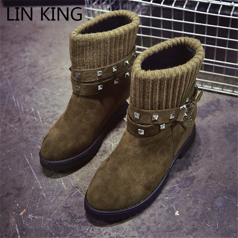 LIN KING New Women Snow Boots Round Toe Low Thick Square Heel Boots Flock Solid Warm Winter Rivet Buckle Smile Ankle Boots<br><br>Aliexpress