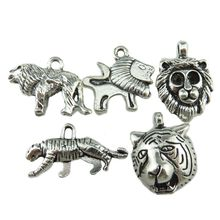 Free shipping 5PCS MIX Vintage Silver Alloy Boy Men Animal Leopard Head of Tiger Lion Pendant