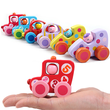 So Cute!Mini Cartoon Wooden Vodice Car Model Inertia Car Toy Children Baby Education Toys Birthday Gift For Newborn Color Random(China)