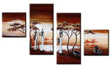 Modern Home Decor Wall Art 4 Panel Pictures Hand Painted Africa Landscape Oil Painting On Canvas Acrylic African Women Paintings