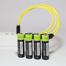 ZNTER 4PCS/set AA Rechargeable Battery 1.5V 2A 1250mAh USB Charging Lithium Battery Bateria with Micro USB Cable(China)
