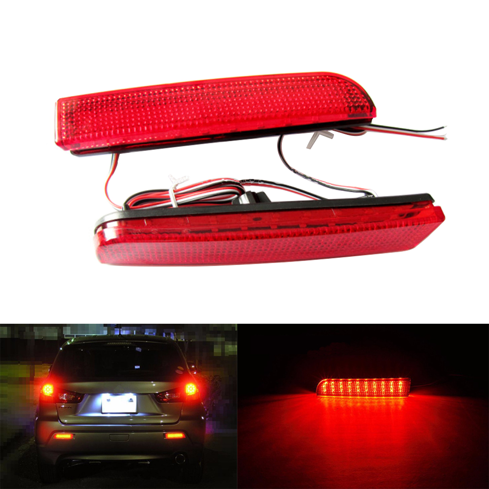 2PCS Red Lens LED  Bulbs Car Styling Warning Rear Bumper Reflector Brake Light Stop Fog Lamp For 2008-2014 Mitsubishi Lancer<br><br>Aliexpress