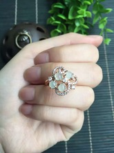 classic and elegant 925 sterling silver rose gold or silvery fine jewelry natural icy jade icy jadiete ring for women(China)