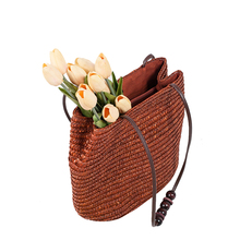 LALA IKAI New Vintage Women Handbag Fashion Shopping Tote Beach Bag Fresh Casual Bucket Straw Tote Bag Summer Bag BWA0200