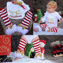 3Pcs Christmas Newborn Baby Girls Bodysuit Onesie Clothing Set Infant Girls Letter Bodysuits+Leg Warmer+Headband Outfit Clothes