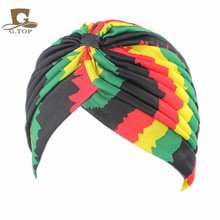 Women's new Fashion rasta Turban Indian Style Head Wrap Cap Hat Hair Cover Headband various print design(China)