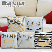 Bronzing Cushion Cover Printed 43x43cm/17x17'' Linen&Polyester Decorative Pillow Cases Home Sofa Pillowcase(China)