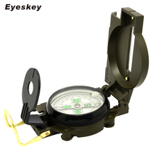 Eyeskey Portable Army Green Folding Lens Compass Metal Military Marching Lensatic Camping Compass New
