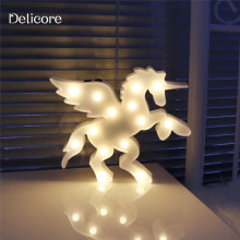 DELICORE 3D Animal Led Night Lights Unicorn Shaped Marquee Lamp With Usb On Wall For Children Party Bedroom Decor Kids Gift S204(China)