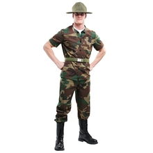 Unique Mens Drill Sergeant Costume Halloween Adult Soldier Disguise Carnival Party Marines Dress-up Cosplay(China)