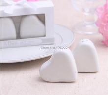 "200PCS/LOT(100BOXES) Wedding Gifts of ""A Dash of Love"" Ceramic Heart Salt and Pepper Shakers ALIBABA Golden Supplier"