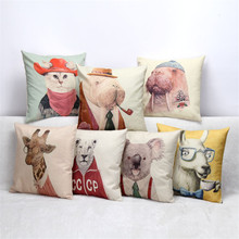 45x45cm Alpaca Koala Giraffe Animal Cushion Covers Cat Blue Yellow Cushion Cover Throw Pillows Cover for Home Decor Pillowcase