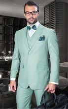 2017 Latest Coat Pant Designs Mint Green Wedding Men Suits Slim Fit 3 Piece Prom Tuxedo Custom Suit Groom Blazer Terno Masculino(China)