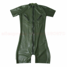 Army Green Men Latex Catcuit with Nipple Zips Rubber Fetish Short Legs Clothes Front Zip Custom Made S-LCM132