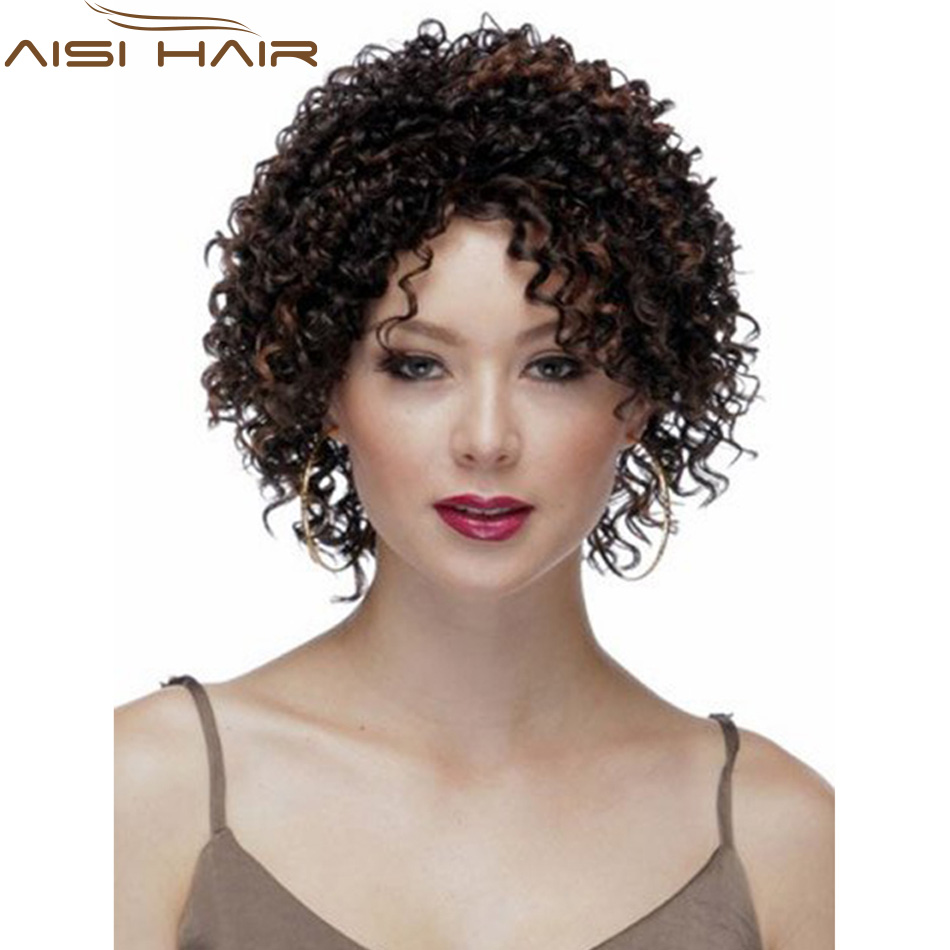 10 Cheap Short Kinky Curly Brown Wig African American Wig For Black Women Haircut Synthetic Highlight Natural Wig Afro Peruca<br><br>Aliexpress