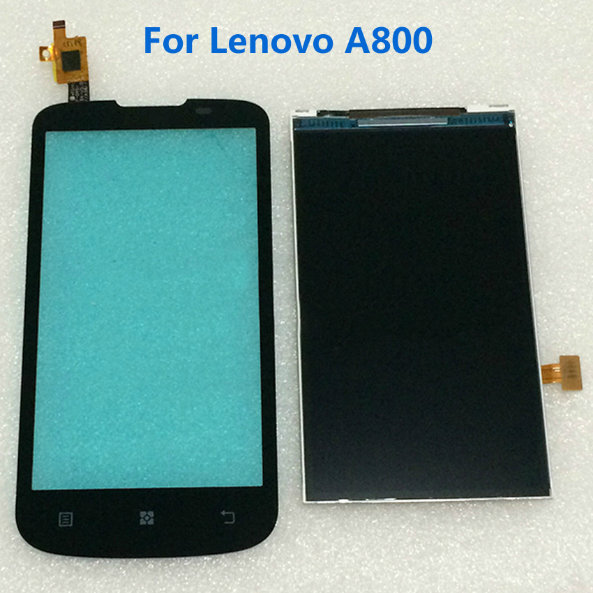 100% Tested Working Black A800 LCD Display +Outer Sensor Touch Screen Digitizer For Lenovo A800 Mobile Phone Replacement<br><br>Aliexpress