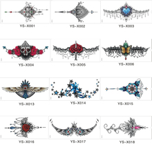 1PC 18models Under Breast Ornamental Tattoo flower shoulder Sternum tattoo sleeve body paint Rose Jewelry necklace summer Bikini