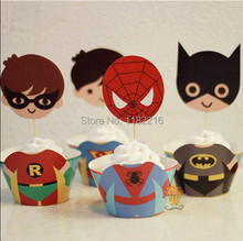 Promotion 24 PCS mixed batman superman cupcake wrappers toppers kids Baby birthday party favors Cup Cake decorations picks(China)