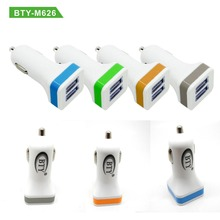 BTY-M626 High Quality Daul USB Car Charger Adpater For Smartphone Tablet PC MP4 PDA(China)