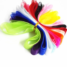 12 Yards/ Lot 2cm width Size 10 Different color Mix Send Candy color Organza Hair Ties Ribbons Accessories
