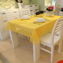 Newest Elegant Floral Plaid Design 100% Pure Polyester Yellow Grey Orange Wine White Solid Lace Embroidery Tablecloth