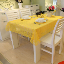 Newest Elegant Floral Plaid Design 100% Pure Polyester Yellow Grey Orange Wine White Solid Lace Embroidery Tablecloth(China)