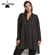 MissKoKo Big Size New Fashion Women Clothing Casual Basic Dress V-Neck Long Sleeve  Shirt Dress Plus Size Dress 4XL 5XL 6XL 7XL f425c5b93cd2