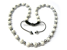 Hot sale cheap mens shamballa disco ball necklace with 10mm white turquoise jewelry for unisex women