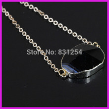 1pc/lot Pure Natural Glass Black Female Crystal Gem Stone Charm Pendant Connector Gold Side Snake Chain Necklace For Best Friend(China)