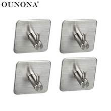 OUNONA 4pcs Adhesive Bath Hooks Stainless Steel Bathroom Towel Hook Stick Wall Hooks Hangers Holders for Home Kitchen
